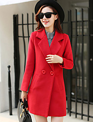 Women's Casual/Daily Simple Coat,Solid Long Sleeve Winter Blue / Red Wool / Polyester