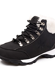 Черный Белый-Женский-Для занятий спортом-Кожа-На плоской подошве-Удобная обувь-Ботинки