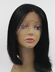 Sylvia Synthetic Lace front Wig Natural Black Heat Resistant Bob Straight Synthetic Wigs For Black Women