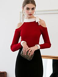 Damen Standard Pullover-Ausgehen Einfach Solide Rot / Schwarz Rundhalsausschnitt Langarm Andere Frühling / Herbst Mittel Dehnbar