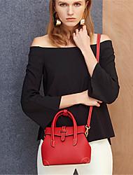 Mulher Bolsa de Ombro Couro de Gado Outono Casual Preto Vermelho Rosa claro