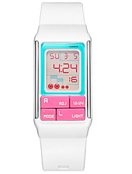 Casio Electronic  Women's Watches with White Rubber Band LED Lighting Lovely Children Watches  LDF-51-7C
