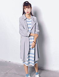 Women's Casual/Daily Street chic Trench Coat,Solid Round Neck Long Sleeve Spring / Fall Gray Polyester