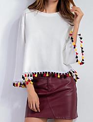 Damen Solide Einfach Lässig/Alltäglich T-shirt,Rundhalsausschnitt Herbst / Winter Langarm Weiß Baumwolle Mittel