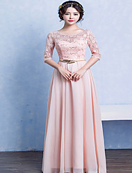 A-line Mother of the Bride Dress Floor-length Half Sleeve Chiffon with Sash / Ribbon