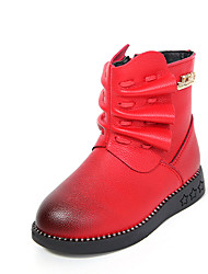 Girl's Boots Fall / Winter Comfort PU Dress / Casual Flat Heel Ruched Black / Red Walking