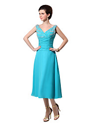 Tea-length Chiffon Elegant Bridesmaid Dress - A-line V-neck with Beading / Draping