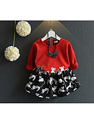 Girl's Going out Animal Print Hoodie & Sweatshirt / Clothing SetCotton Spring / Fall Red