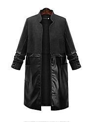 Women's Going out Stylish Leather Pocket Jacket Trench Coat  Stand Long Sleeve Plus Size