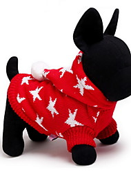 Cat / Dog Sweater / Hoodie Red / Blue Dog Clothes Winter / Spring/Fall Stars Cute / Keep Warm / Christmas