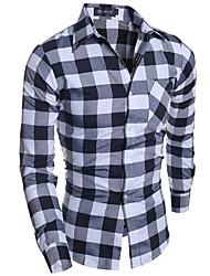 Masculino Camisa Casual Simples Primavera / Outono,Quadriculada Vermelho / Cinza Algodão Colarinho de Camisa Manga Longa Média