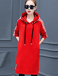 Women's Plus Size / Going out Simple Shift DressSolid Hooded Above Knee Long Sleeve Red