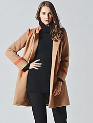 Damen Einfarbig Einfach Ausgehen Mantel,Herbst Ständer Langarm Braun Dick Wolle