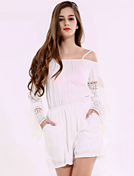 1287 Women's Solid White JumpsuitsStreet chic Strap Long Sleeve