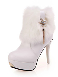 Women's Boots Fall Winter Comfort Club Shoes Light Up Shoes PU Casual Low Heel Zipper Black White Other