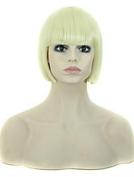 le style bob perruque courte ligne droite avec une frange blond perruques couleur synthétiques pour les femmes