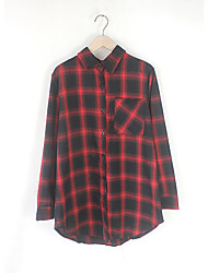 Women's Casual/Daily Simple Fall ShirtStriped Shirt Collar Long Sleeve Red / Black Cotton Medium