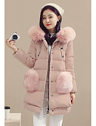 Women's Long Down Coat,Simple Casual/Daily Solid-Polyester White Duck Down Long Sleeve Pink / Gray