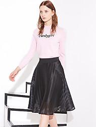 Damen Röcke - Einfach Knielang Polyester Mikro-elastisch