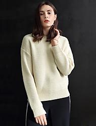 Damen Standard Pullover-Ausgehen Einfach Solide Rot / Beige Rundhalsausschnitt Langarm Acryl Winter Mittel Mikro-elastisch