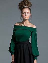 MASKED QUEEN Women's Going out Sexy / Simple Regular PulloverSolid Red / Black / Green Off Shoulder Long Sleeve