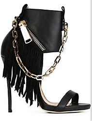 Черный-Для женщин-Повседневный-Полиуретан-На шпильке-Удобная обувь-Сандалии