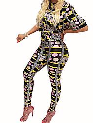 Set Pantalon Costumes Femme,Imprimé Sortie / Habillées simple Eté / Automne Manches Courtes Mao Multi-couleur Polyester Opaque