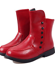Girl's Boots Winter Comfort PU Outdoor / Casual Flat Heel Rivet / Zipper Black / Red / White Walking