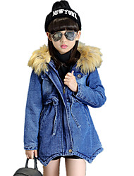 Girl's Solid with Fur Collar with Hat Denim Long Wild Thickness Cotton Padded Fashion Jacket & Coat
