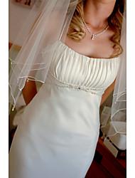 Свадебные вуали Два слоя Фата до локтя Загнутый край Тюль