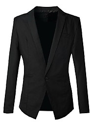 Men's Wedding / Going out / Work Vintage / Simple / Street chic Fall / Winter Blazer,Solid Notch Lapel Long Sleeve Black Cotton