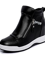 Women's Boots Winter Platform PU Casual Wedge Heel Platform Black White