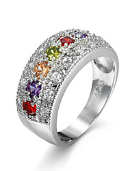 Colorful Cz Diamond Ring Classic  New Plated Party Jewelry Rings For Women Bijoux Cute fashion accessary finger ring
