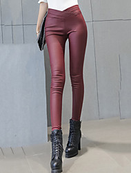 Women's Solid Red / Black Skinny Pants Sexy / Street chic Casual Fashion Slim Thin Fall / Winter Coating PU