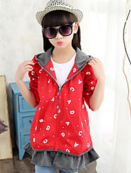 Girl's Casual/Daily Print Suit & Blazer,Cotton Fall Pink / Red