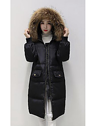 Women's Long Down Coat,Simple Casual/Daily Plus Size Solid-Polyester White Duck Down Long Sleeve
