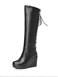 Women's Boots Winter Comfort Wedding / Outdoor / Dress Platform Split Joint / Lace-up Black / Red / White Others