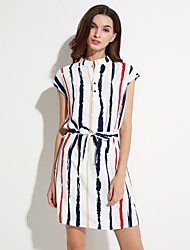 Women's Casual/Daily Sexy Shift Dress,Striped Stand Mini Short Sleeve Blue / White Polyester Summer