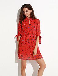 Mulheres Bainha Vestido,Happy-Hour Moda de Rua Estampado Colarinho de Camisa Acima do Joelho Meia Manga Azul / Vermelho / BrancoAlgodão /
