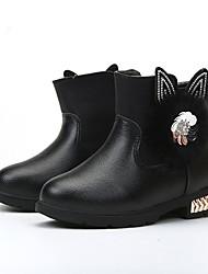 Girl's Boots Spring / Fall / Winter Bootie / Comfort Leather Outdoor / Casual Low Heel Zipper Black / Pink / Red Walking