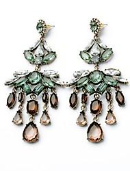 European Luxury Gem Geometric Earrrings Exaggerated Shining Drop Earrings for Women Fashion Jewelry Best Gift