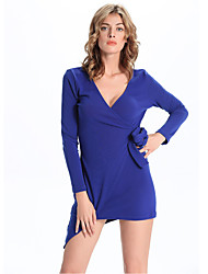 1287  Women's Going out / Casual/Daily Simple A Line DressSolid V Neck Mini Long Sleeve Blue Cotton