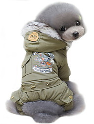 Dog Coat Hoodie Dog Clothes Winter Spring/Fall Police/Military Cosplay Fashion Windproof Keep Warm Hunter Green Khaki