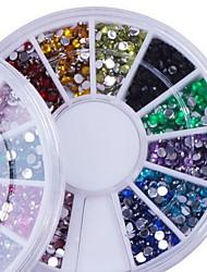 fausse manucure fait référence à l'intérieur diamant 12 boîte de couleur manucure de forage au diamant forage clou téléphone mobile beauté