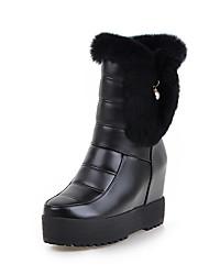 Women's Boots Winter Snow Boots PU Dress / Casual Flat Heel Zipper Black / White Others