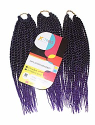 Senegal Twist Mixed 1b/Purple Synthetic Hair Braids 12inch Kanekalon 81 Strands 125g  Multipal Pack for Full Heads