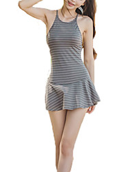 Women's Straped One-piece,Lace Up / Cross / Bandage Nylon / Polyester / Spandex Blue / Gray / Light Blue