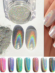 1g/box Colorful Laser Silver Mirror Powder Rainbow Nail Powder Dust Glitter Chrome Pigment Nail Art Sequins Nail