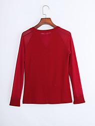Damen Solide Street Schick Lässig/Alltäglich T-shirt,Rundhalsausschnitt Frühling / Herbst Langarm Rot / Grün Polyester Mittel