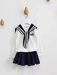 Girl's Casual/Daily Striped Dress / Clothing SetCotton Spring / Fall White